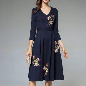 NWT Laklook H.J.W. Navy Floral Dress
